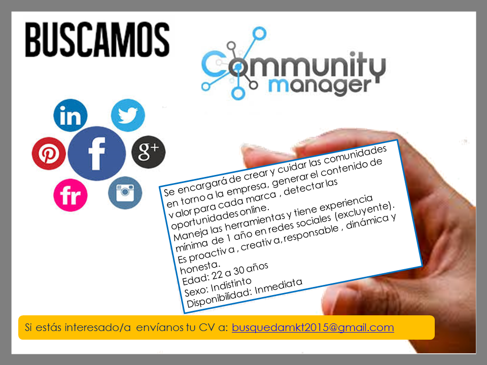 Importante empresa Busca Community Managers