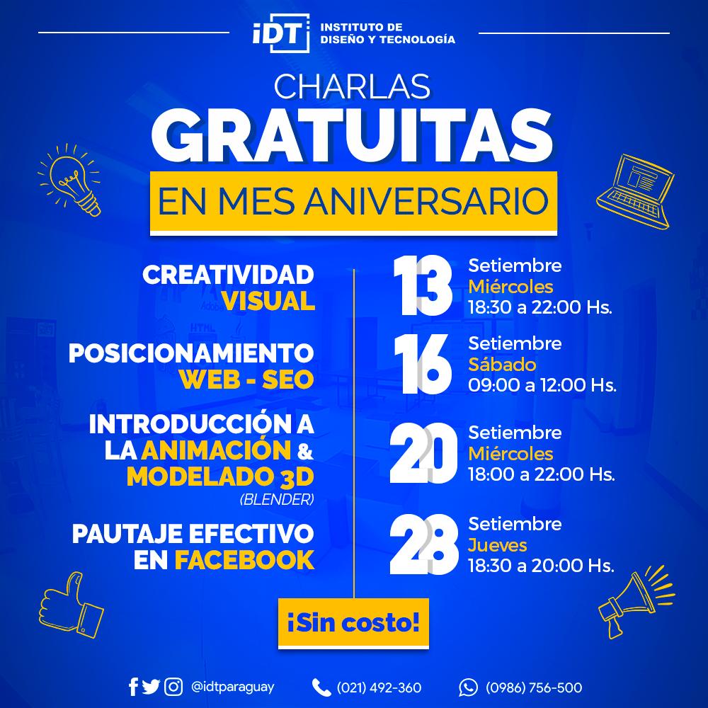 El IDT ofrece Charlas Gratuitas por Mes Aniversario