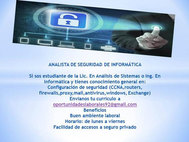 Analista de seguridad de Informática