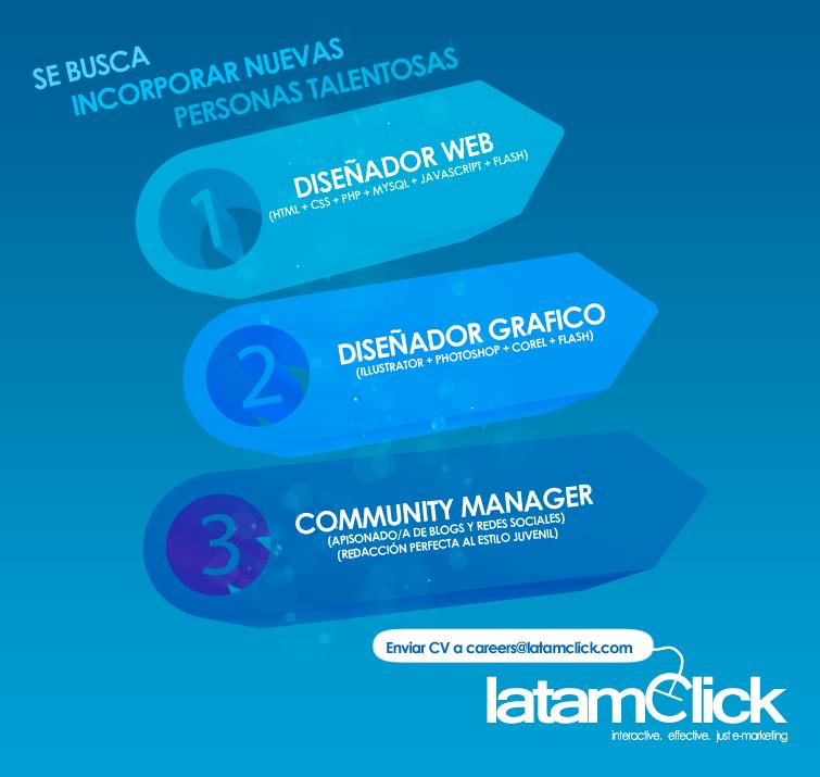 Oferta laboral para Diseñador Gráfico, Diseñador Web y Community Manager